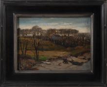 """ULYSSES RICCI (New York/Massachusetts, 1888-1960), """"Cape Ann Shore""""., Oil on masonite, 12"""" x 16"""". Framed 18.5"""" x 22.5""""."""