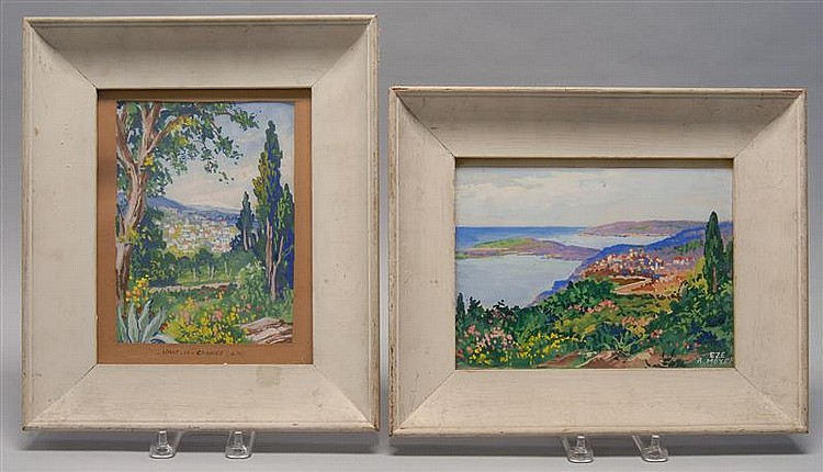 A. MEYER, 20th Century, Two French landscapes:, Watercolor and gouaches on paper. Framed.