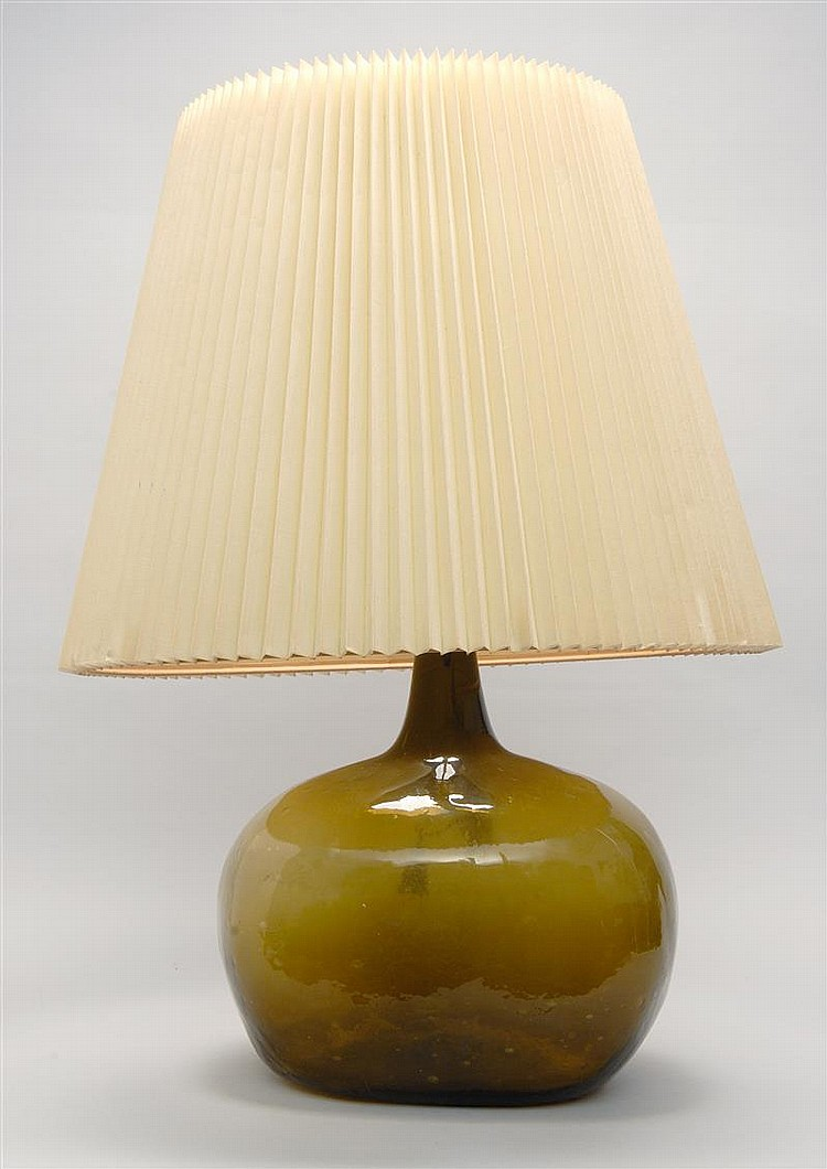 Large Blown Glass Demijohn In Olive Green Made Into A Table Lamp