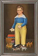 """SUZY AALUND, Massachusetts, Late 20th Century, Portrait of a boy with a toy Noah's Ark., Oil on canvas, 36"""" x 23"""". Framed."""