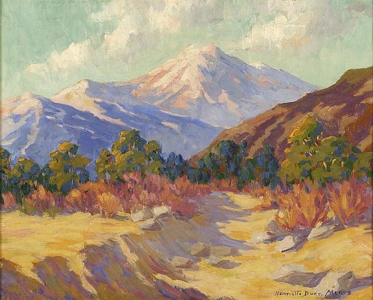 HENRIETTA DUNN MEARS, American, 1877-1970, Southwestern mountain scene., Oil on canvas, 16