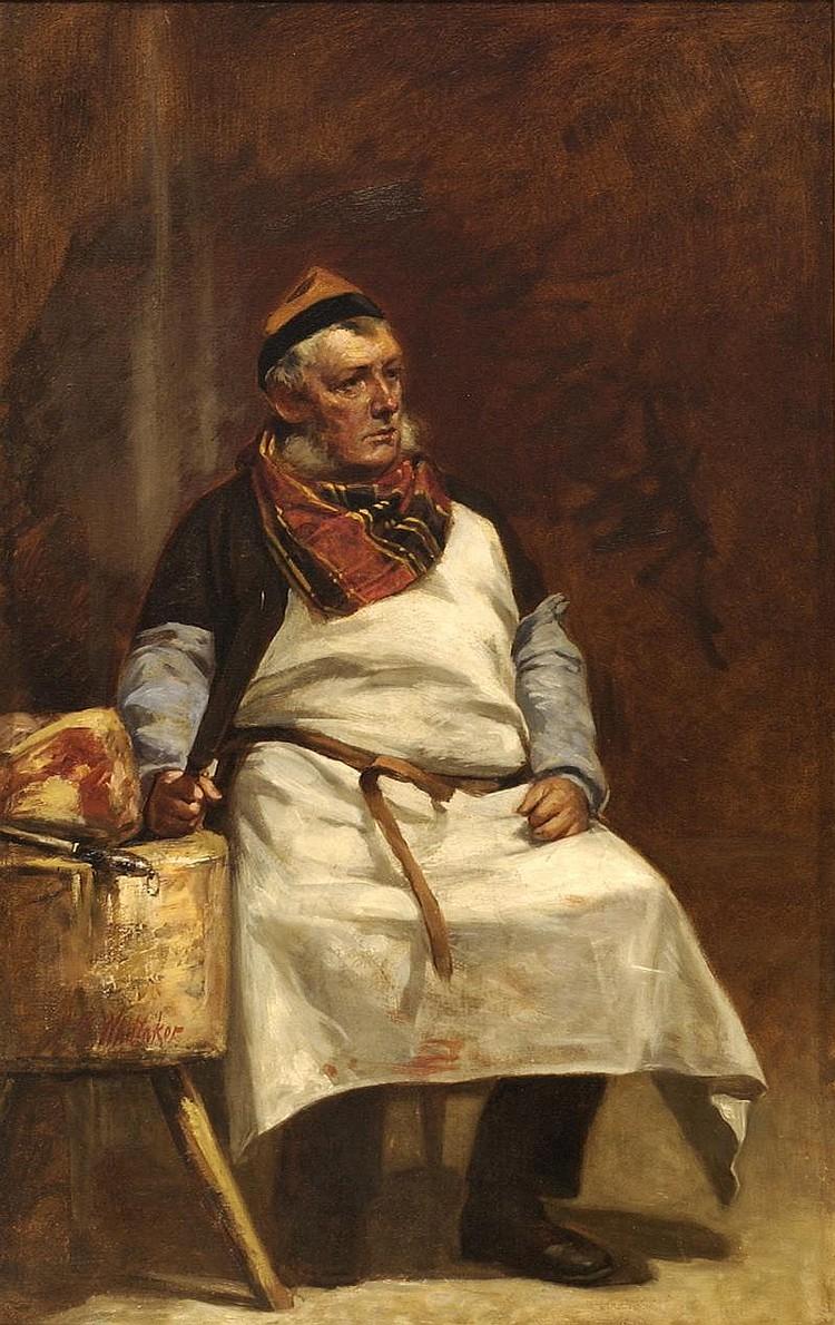 JOHN BARNARD WHITTAKER, American, 1836-1926, Portrait of a butcher., Oil on canvas, 22