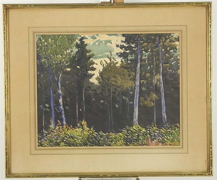 FRANK LEONARD ALLEN, American, 1884-1966, Forest interior., Watercolor on paper, 17