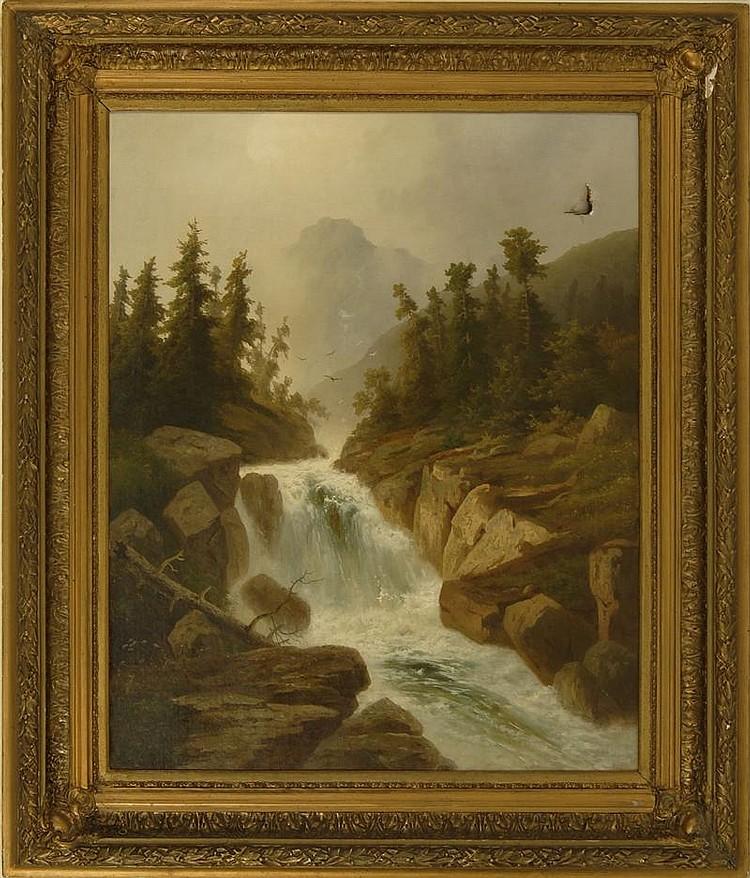 ERNST HEYN, American, 1841-1894, Gebirgsbach (Mountain stream)., Oil on canvas, 37½