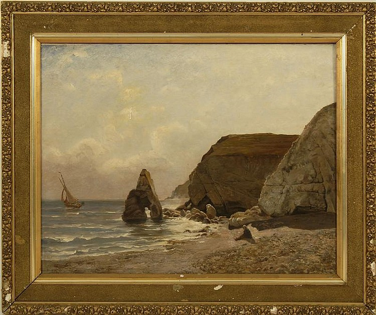 CARL IRMER, German, 1834-1900, Seascape with rocky shore., Oil on canvas, 28½