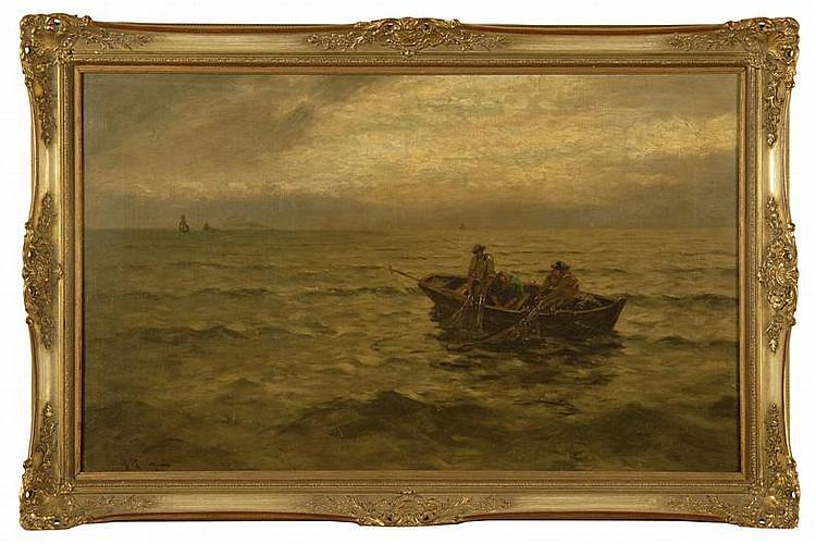 JULIUS FRIEDRICH LUDWIG RUNGE, German, 1843-1922, Fisherman hauling nets., Oil on canvas, 20