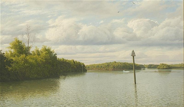 JOSEPH MCGURL, American, Contemporary, Florida waterway., Oil on board, 24