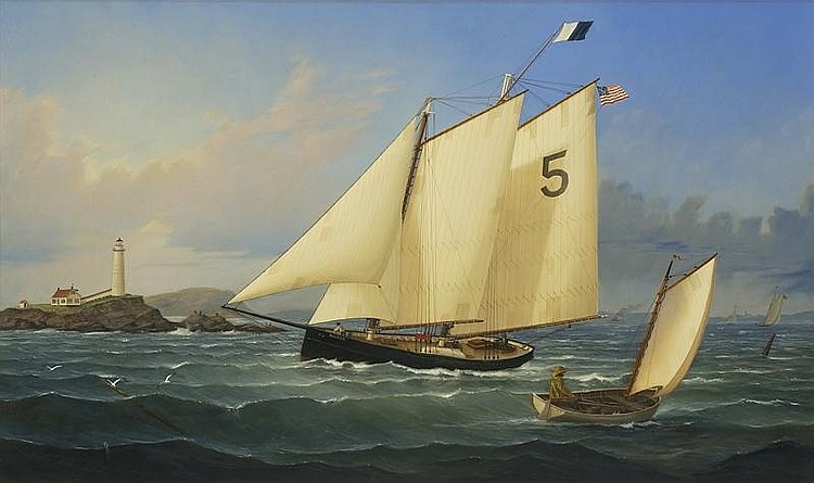 WILLIAM R. DAVIS, American, b. 1952, Pilot Schooner Hesper off Boston Light., Oil on canvas, 30