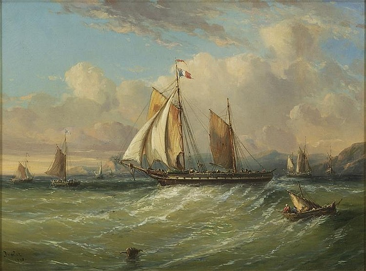 JEAN MARIE AUGUSTE JUGELET, French, 1805-1875, French naval frigate off the Normandy Coast., Oil on canvas, 17