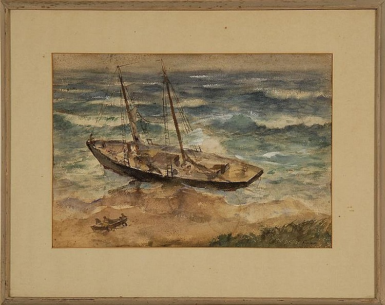 FRAMED WATERCOLOR: VOLLIAN BURR RANN (American, 1897-1956). Beached ship. Signed lower right
