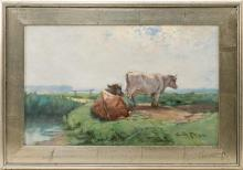 """EDWARD A. PAGE, Massachusetts, 1850-1928, Cows resting by the marsh., Oil on canvas, 14"""" x 22"""". Framed 19"""" x 27""""."""