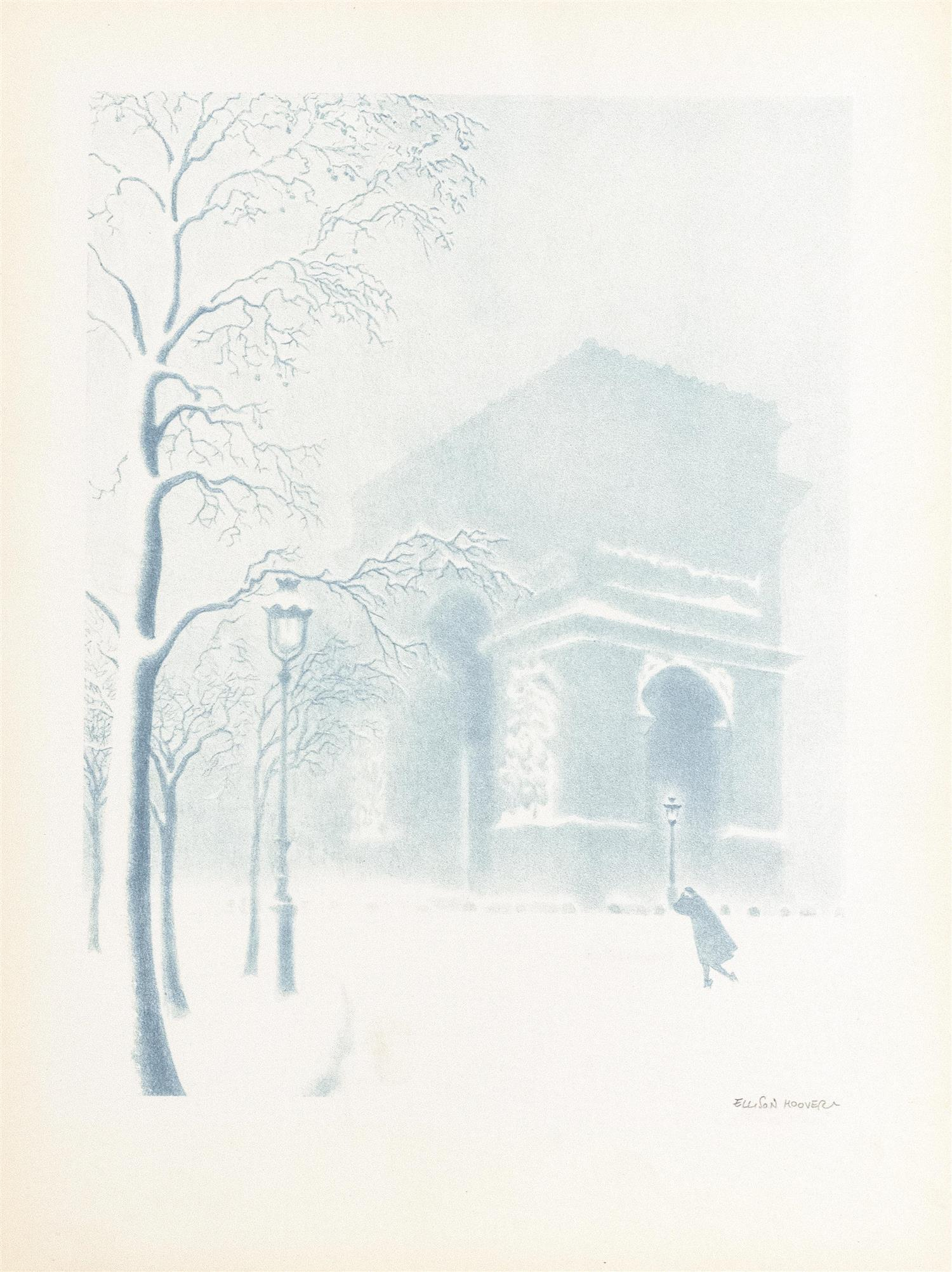 "ELLISON HOOVER, Ohio/New York, 1888-1955, The Arc de Triomphe in snow., Lithograph printed in blue, sheet size 16"" x 12"". Unframed."