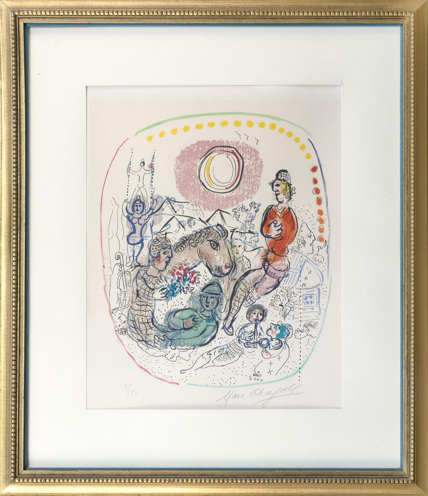 "MARC CHAGALL, Russia/France/New York, 1887-1985, ""Le Jeu des Arlequins""., Color lithograph on paper, 22"" x 15.5"". Framed 30"" x 25.5""."