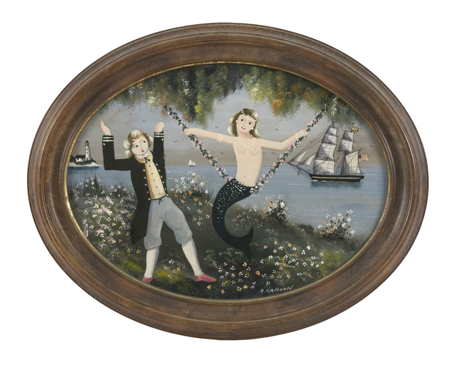 """RALPH EUGENE CAHOON JR., Cape Cod, 1910-1982, A man stands in delight as a mermaid sits on a swing., Oil on masonite, oval 9"""" x 12""""...."""