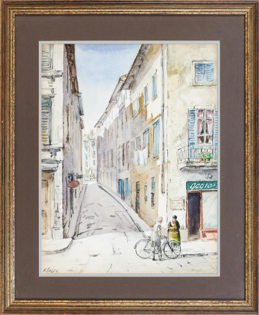 "HENRY MARTIN GASSER, New Jersey, 1901-1981, ""Street in Paris""., Watercolor, 19"" x 14.5"" sight. Framed 26"" x 21""."