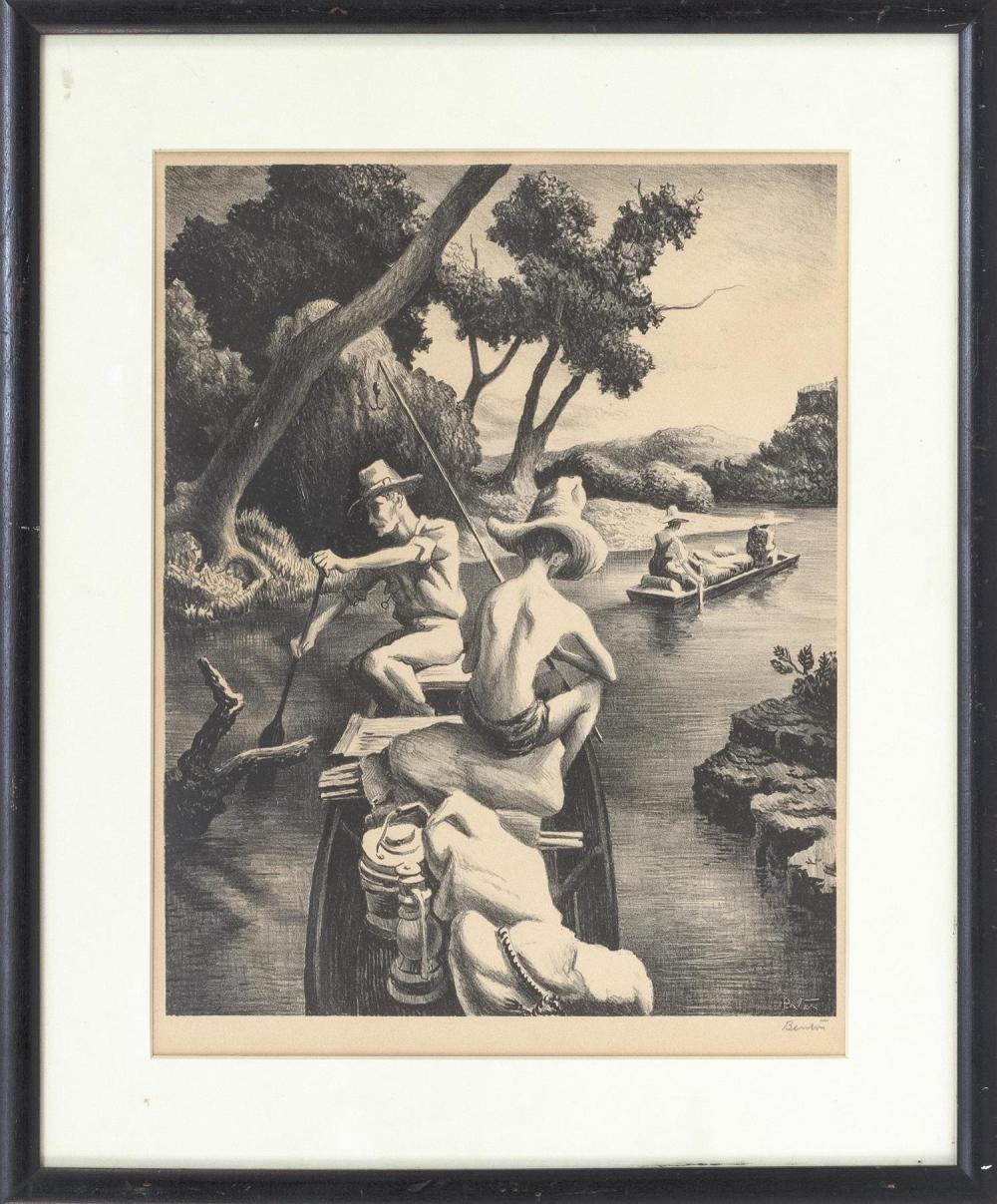 "THOMAS HART BENTON, Missouri/Massachusetts/Kansas, 1889-1975, ""Down The River"" 1939., Lithograph on rives paper, image size 12.5"" x..."