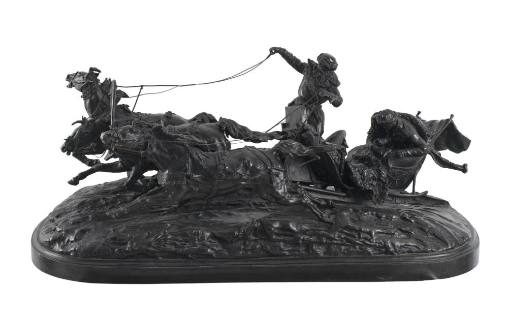 EVGENII ALEKSANDROVICH LANCERAY, France/Russia, 1848-1886, Pleasure ride in a winter troika., Cast bronze with deep brown patina, le...
