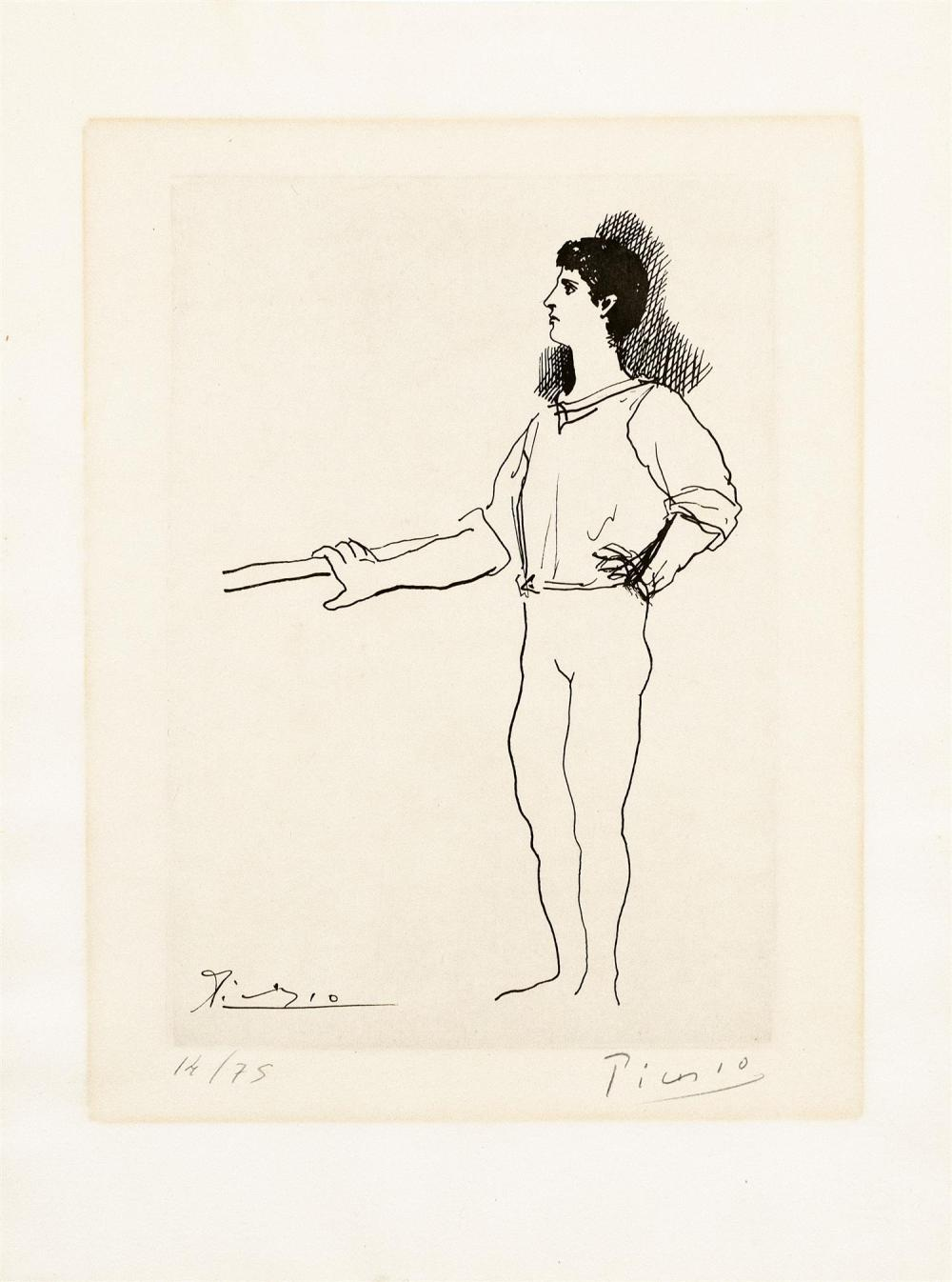"""PABLO PICASSO, Spain/France, 1881-1973, Ballet dancer at the barre., Copperplate engraving on BFK Rives vellum paper, 10.5"""" x 7.25""""..."""