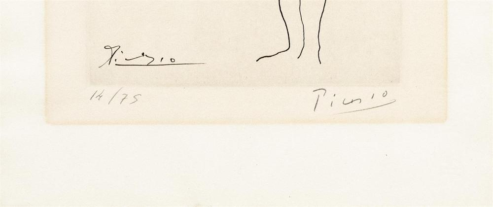 PABLO PICASSO, Spain/France, 1881-1973, Ballet dancer at the barre., Copperplate engraving on BFK Rives vellum paper, 10.5