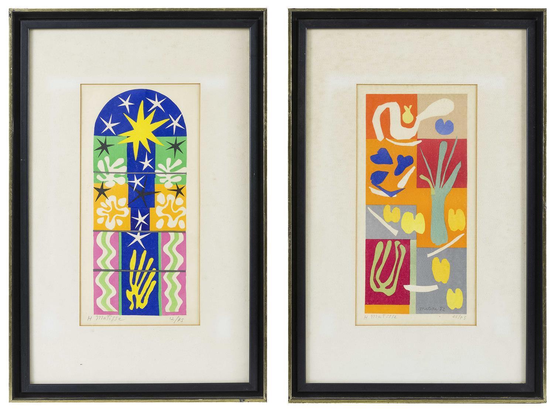 "HENRI MATISSE, France, 1869-1954, Two serigraphs on paper: , Both 14"" x 10"". Framed 23"" x 14.5""."