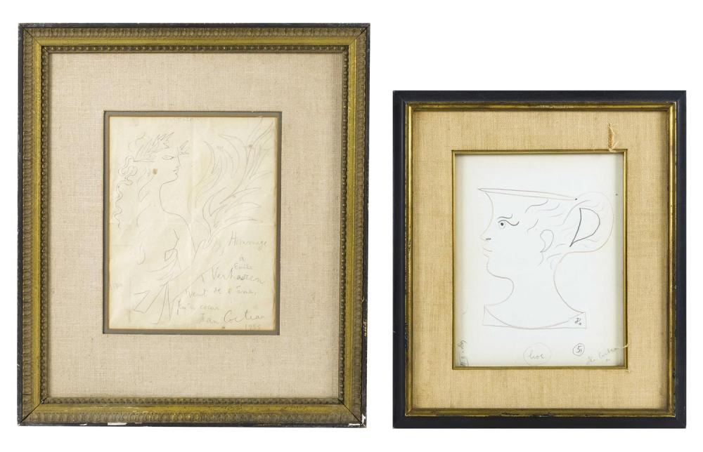 JEAN MAURICE EUGENE CLEMENT COCTEAU, France/Belgium, 1889-1963, Two figural sketches: