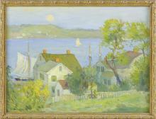 "GEORGE ALBERT THOMPSON, Connecticut, 1868-1938, ""Early Moonrise""., Oil on board, 12"" x 16"". Framed 13"" x 17""."