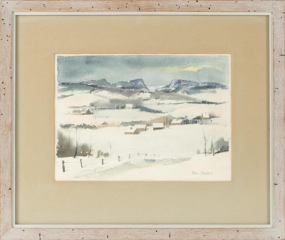 "PAUL STARRETT SAMPLE, New Hampshire/California/Vermont, 1896-1974, ""Winter Near Brownington"" (Vermont)., Watercolor on paper, 10"" x..."
