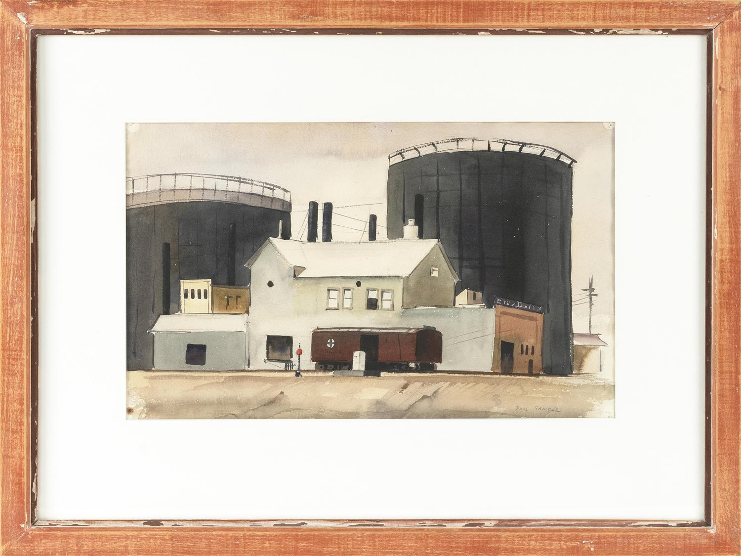 """PAUL STARRETT SAMPLE, New Hampshire/California/Vermont, 1896-1974, """"Lime Hydrater""""., Watercolor on paper, 11.25"""" x 18.75"""" sight. Fra..."""