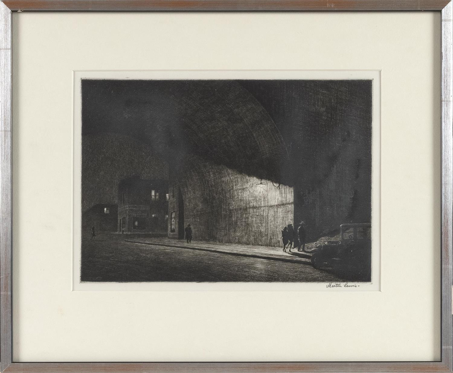 "MARTIN LEWIS, New York/Connecticut/Maine/Australia, 1881-1962, ""Arch Midnight""., Drypoint on laid paper, 8"" x 11.5"" to the plate lin..."