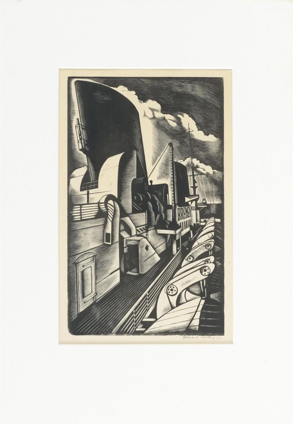"HOWARD NORTON COOK, New Mexico/California, 1901-1980, ""Bremen #1""., Wood engraving on paper, 11"" x 9"". Framed 17.5"" x 12.25""."