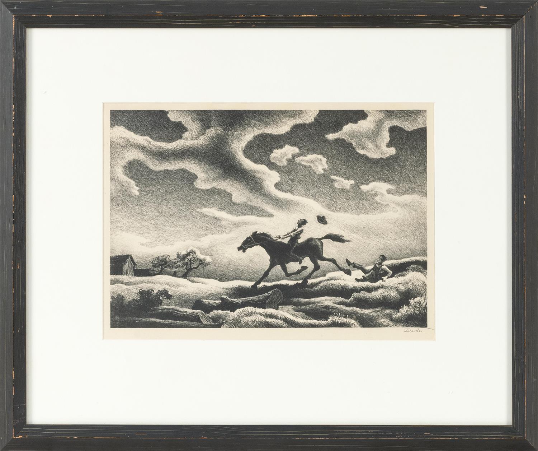 "THOMAS HART BENTON, Missouri/Massachusetts/Kansas, 1889-1975, ""Spring Tryout"", 1943., Lithograph on paper, 9.25"" x 13.50"" sight. Fra..."