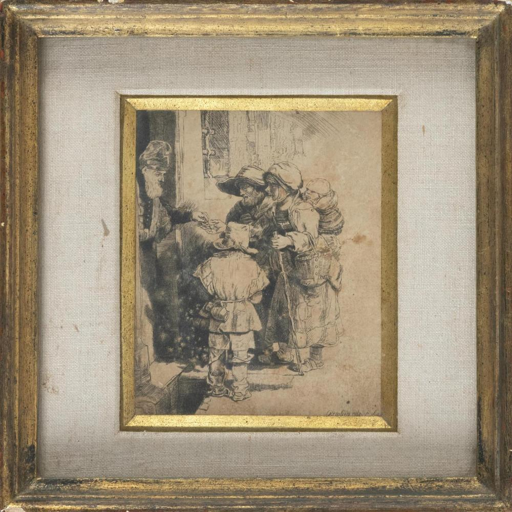 """REMBRANDT VAN RIJN, Holland, 1606-1669, """"Beggars Receiving Alms at the Door of a House, 1648""""., Etching and drypoint, 6.25"""" x 4.25""""...."""