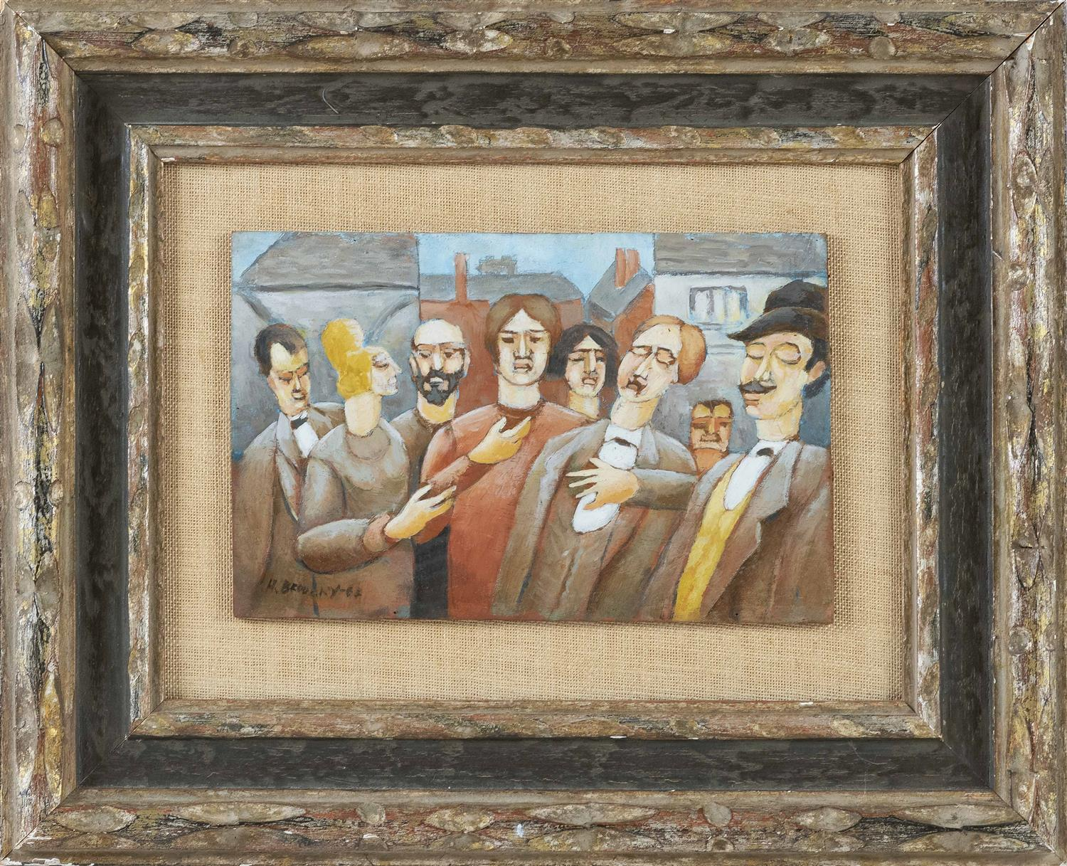 """HORACE BRODZKY, New York/Australia, 1885-1969, Figures in a village., Oil on panel, 5.5"""" x 8.5"""". Framed 12"""" x 15""""."""