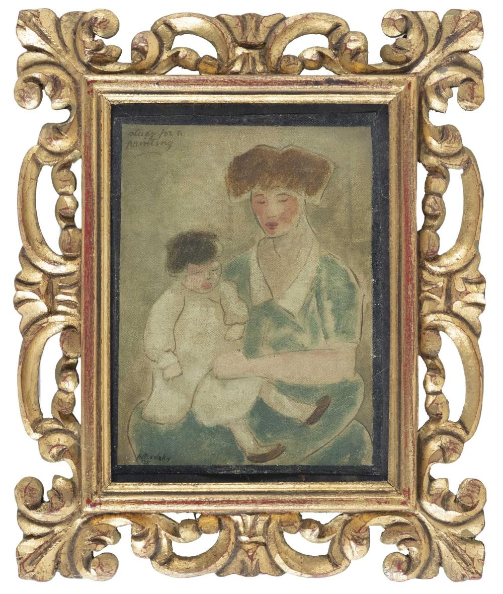 """HORACE BRODZKY, New York/Australia, 1885-1969, """"Study for a Painting""""., Oil on canvas laid on board, 9"""" x 6.5"""". Framed 14"""" x 11""""."""