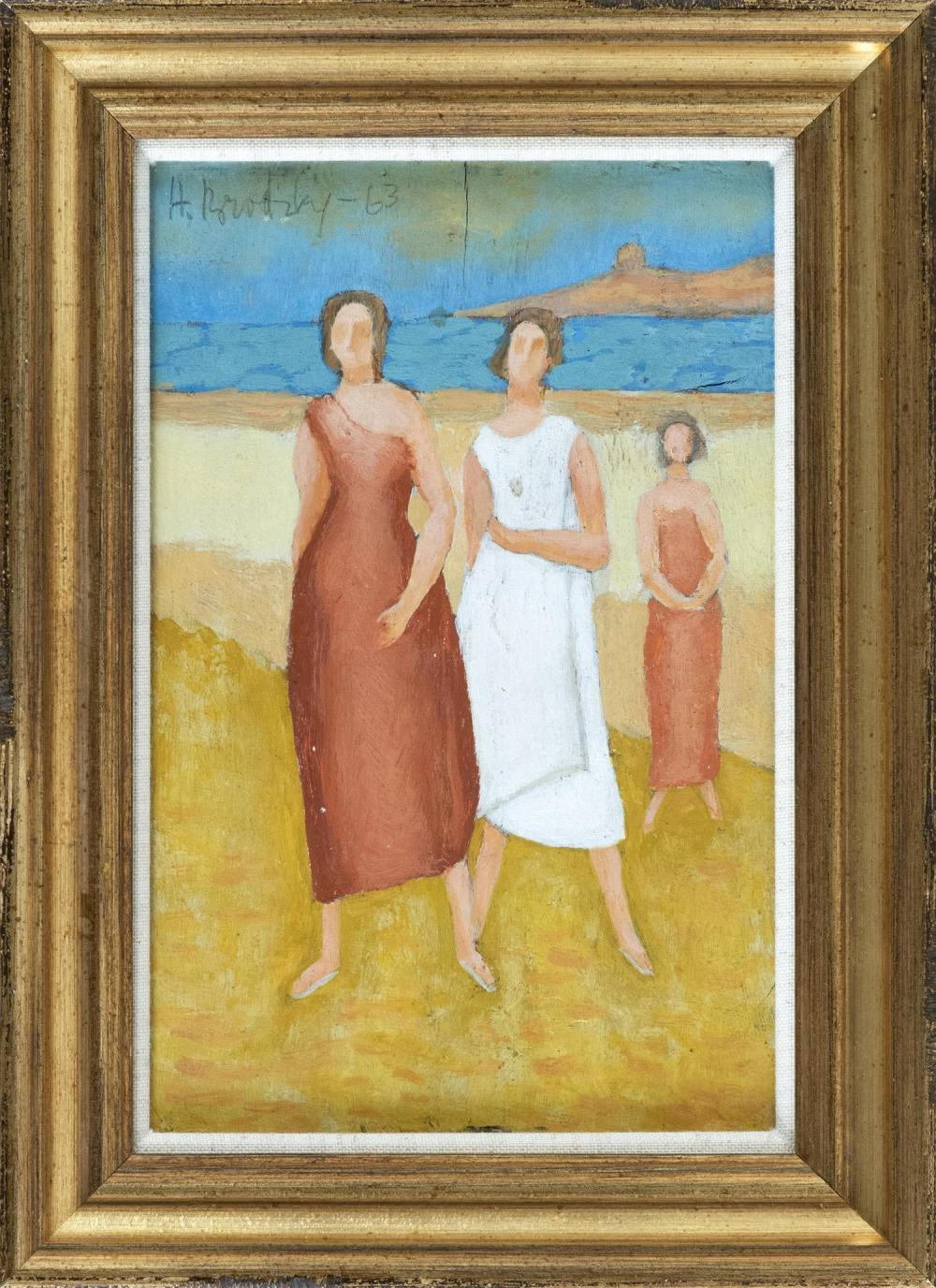 HORACE BRODZKY, New York/Australia, 1885-1969, Three female figures on the beach., Oil on panel, 9.5