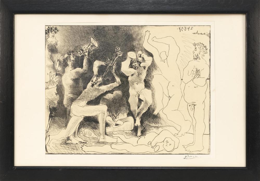 """PABLO PICASSO, Spain/France, 1881-1973, """"La Danse des Faunes""""., Lithograph on Arches paper, image size 16"""" x 20.5"""". Paper size 19"""" x..."""