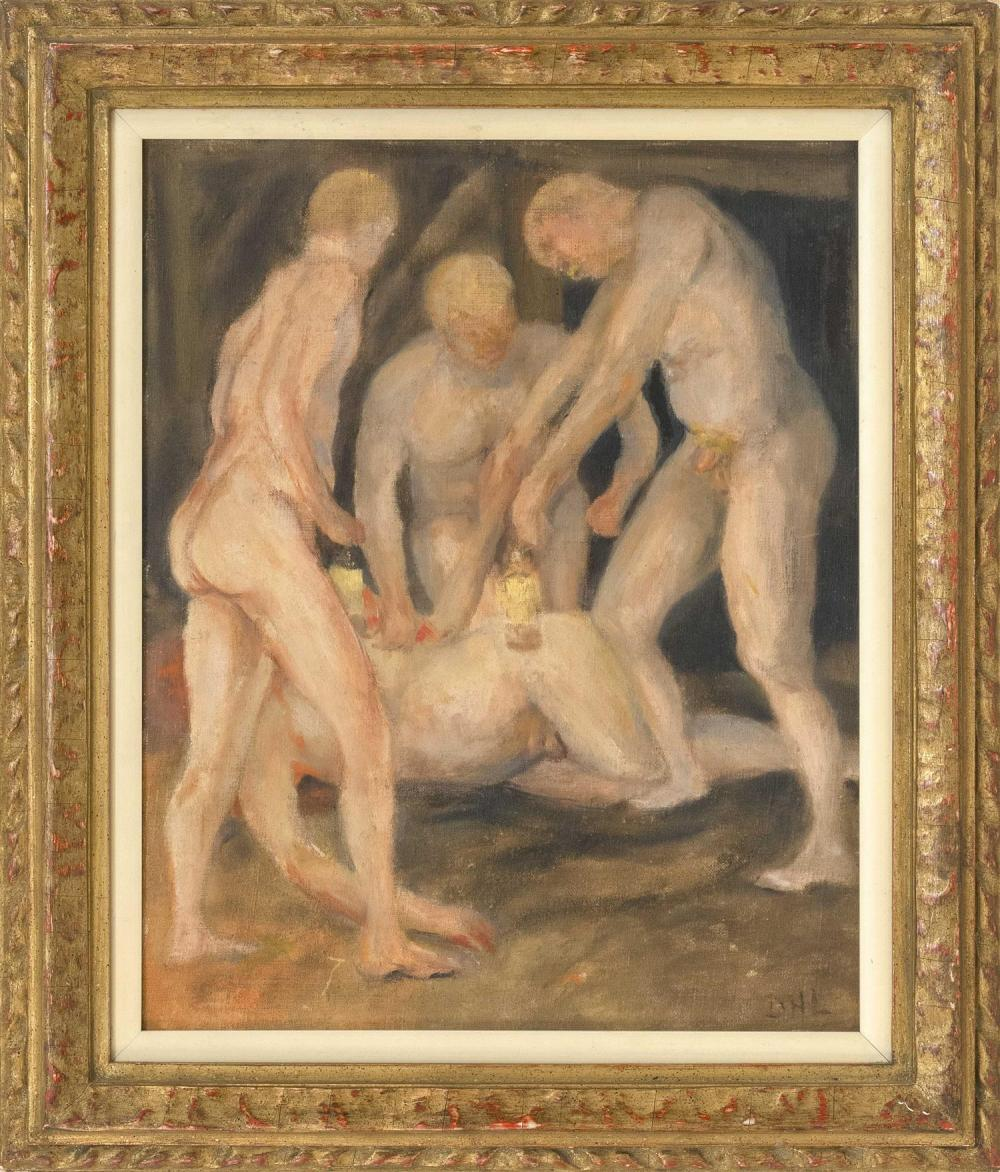 """DAVID HERBERT RICHARDS LAWRENCE, United Kingdom, 1885-1930, """"Accident in a Mine""""., Oil on canvas board, 16"""" x 13"""". Framed 21"""" x 18""""."""