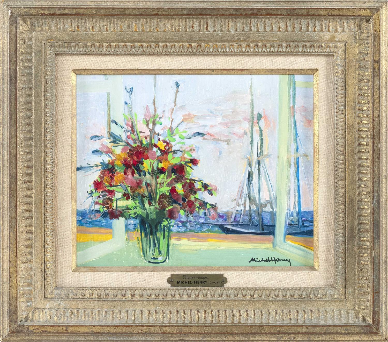 "MICHEL HENRY, France, 1928-2016, ""Fleurs Rouges""., Oil on board, 8.5"" x 10"" sight. Framed 15"" x 16""."