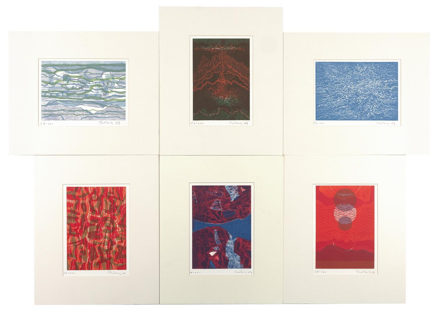 """GABOR PETERDI, Hungary/Connecticut/New York, 1915-2001, Suite of six works, Lithographs on paper, image sizes 7.25"""" x 10"""". Sheet siz..."""