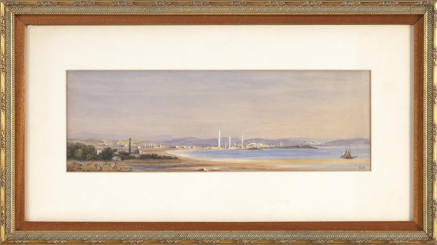 """LOUIS COMFORT TIFFANY, New York, 1848-1933, Coastal view of a North African town with three minarets., Watercolor, 4.5"""" x 13.5"""" sigh..."""