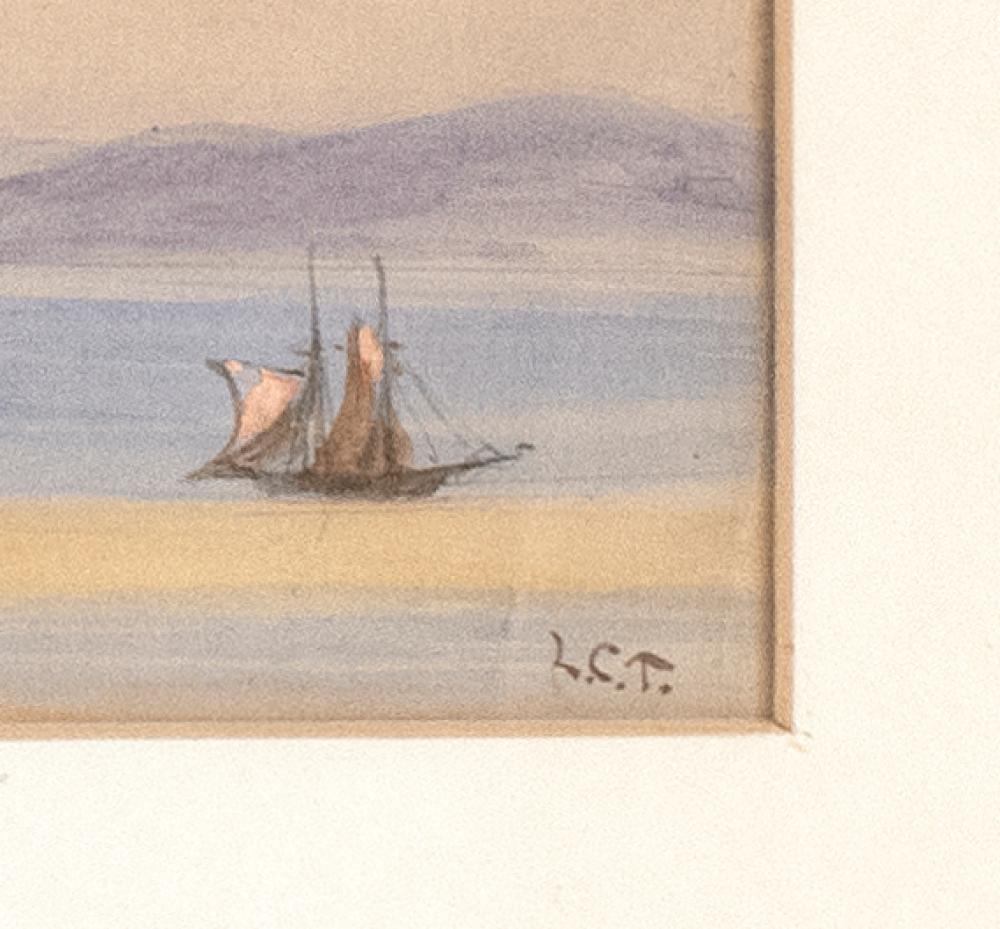 LOUIS COMFORT TIFFANY, New York, 1848-1933, Coastal view of a North African town with three minarets., Watercolor, 4.5