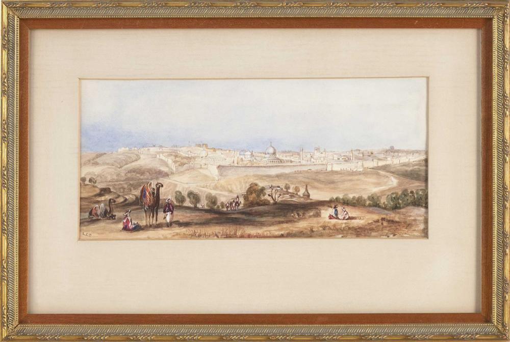 "LOUIS COMFORT TIFFANY, New York, 1848-1933, View of a North African walled city., Watercolor, 5.75"" x 12.5"" sight. Framed 12.5"" x 18..."