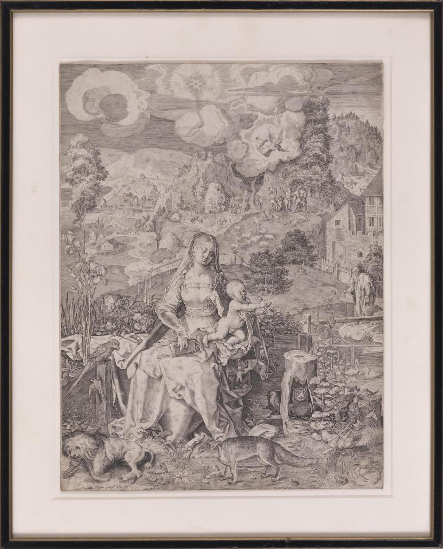 "AEGIDIUS SADELER (AFTER DURER) , ""The Virgin and Child on a Grassy Bank""., Engraving on paper, sheet size 320mm x 240mm. Framed 16""..."