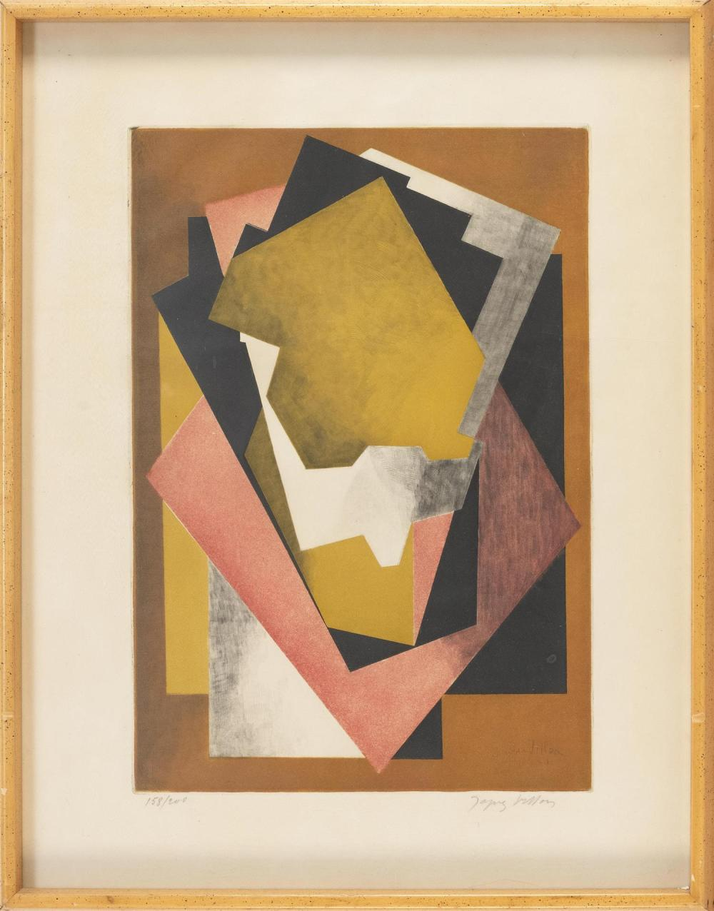 """JACQUES VILLON, France, 1875-1963, """"Composition""""., Aquatint etching, 19"""" x 13"""" to the plate line. Framed 28"""" x 21""""."""