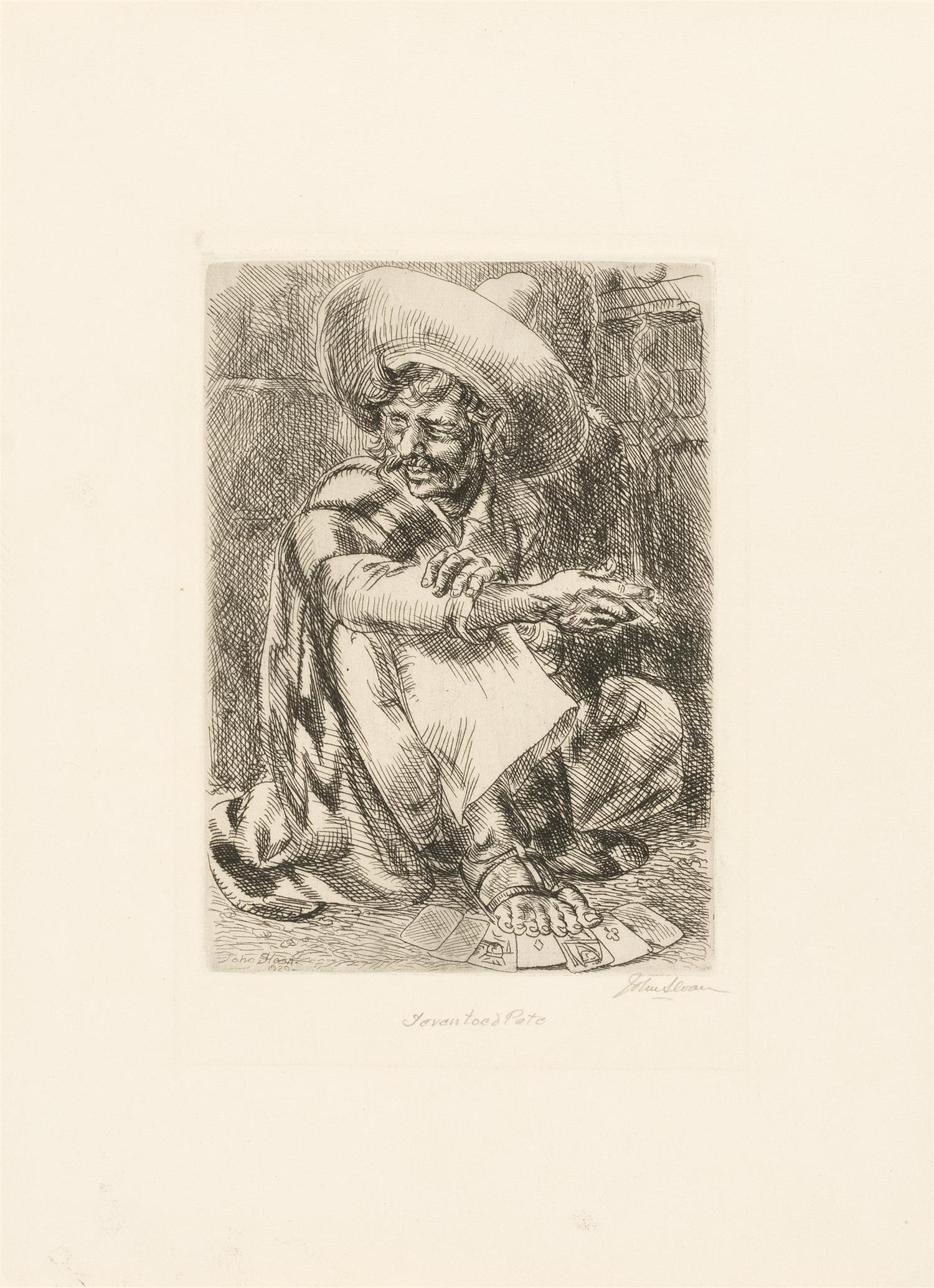 "JOHN SLOAN, New York/New Mexico/New Hampshire, 1871-1951, ""Seven Toed Pete""., Etching on paper, sheet size 12.5"" x 9.5"". Unframed."