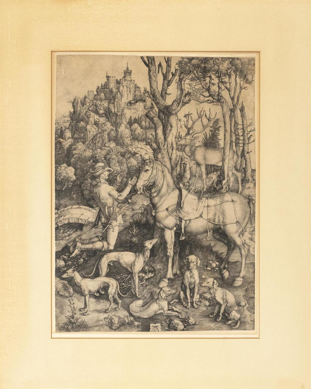 """ALBRECHT DURER, German, 1471-1528, """"Saint Eustace""""., Engraving on laid paper with the anchor in a circle watermark, sheet size 360mm..."""