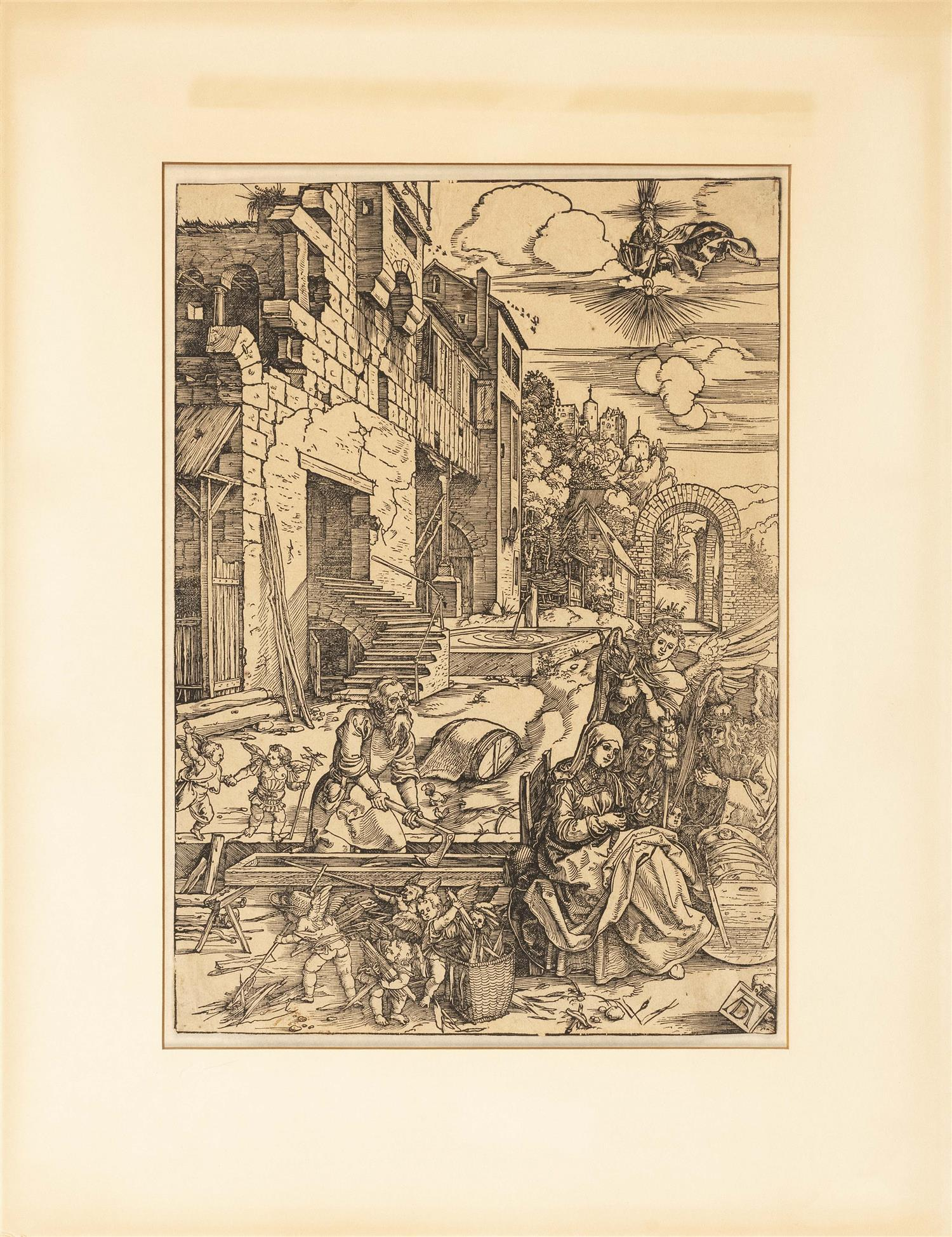 """ALBRECHT DURER, Germany, 1471-1528, """"The Sojourn of The Holy Family in Egypt""""., Woodcut on laid paper (indistinct watermark), image..."""