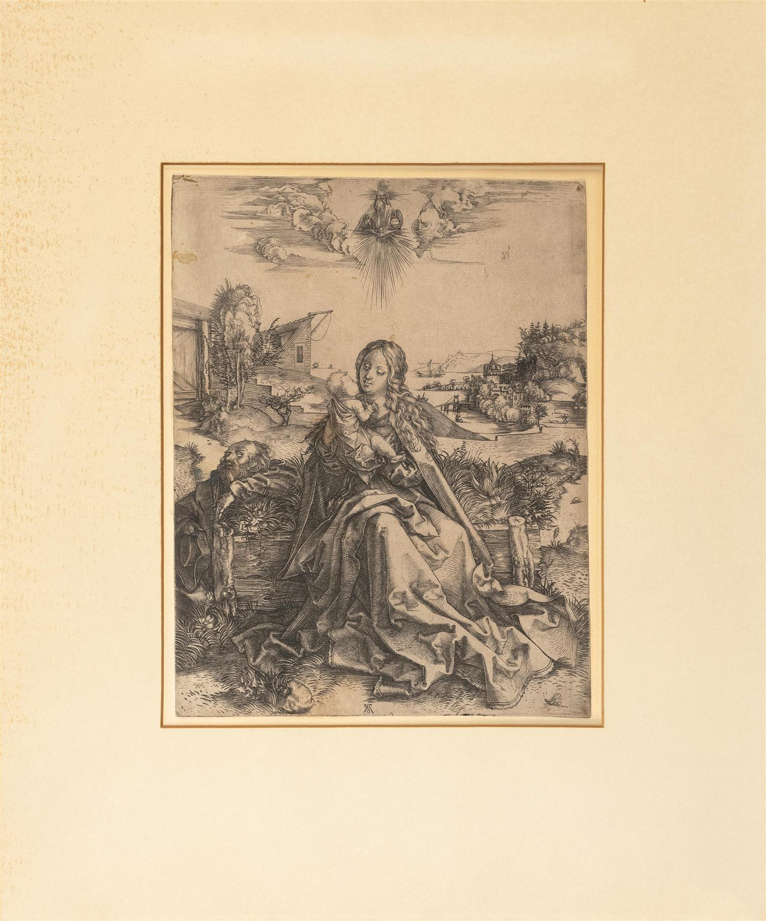 "ALBRECHT DURER, Germany, 1471-1528, ""The Holy Family with the Butterfly""., Engraving on laid paper with grape cluster watermark, she..."