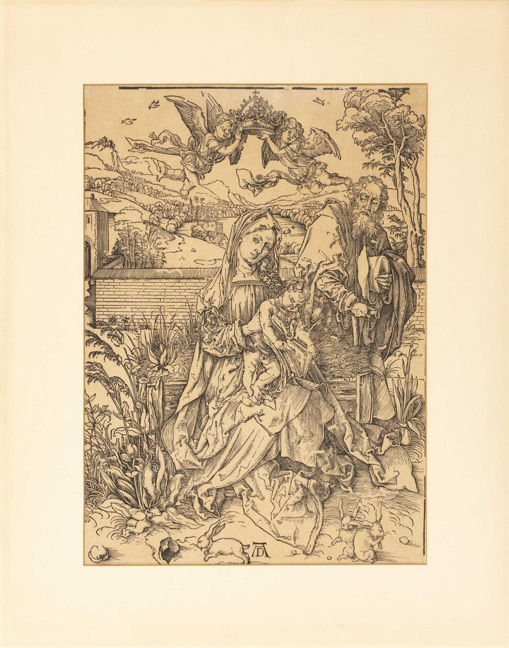 """ALBRECHT DURER, Germany, 1471-1528, """"The Holy Family with Three Hares"""", circa 1498., Woodcut on laid paper (no visible watermark), i..."""