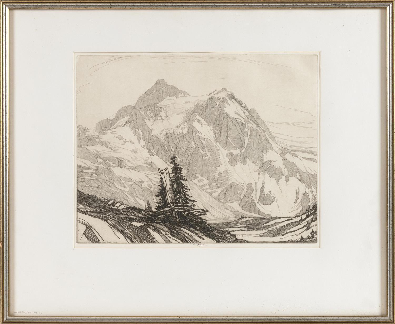"ROI PARTRIDGE, California/Washington, 1888-1984, ""Avalanche Land""., Etching on paper, 11"" x 14"". Framed 18.5"" x 22.5""."